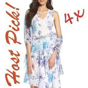 4x HP*KOMAROV Print Asymmetrical Hem Dress & Shawl